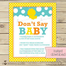 Baby Shower Clothes Pin Game Interesting Rubber Ducky Baby Shower Don't Say Game Printable Baby Shower