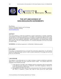 Intellectual Property Nda Template Pdf The Art And Science Of Non Disclosure Agreements