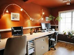 open office ceiling decoration idea. Home Oofice With Wall Track Lighting Fixture Over Beige Computer Desk Surrounded By Brown Interior Open Office Ceiling Decoration Idea