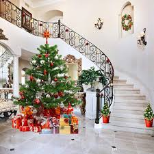2018 Vinyl Photography Backdrops Indoor Staircase Decorated House Christmas  Tree Family Gift Boxes Merry Xmas Holiday Photo Studio Background From ...