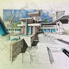 Plain Architecture Design Sketches Nice Example Of Architectural Drawing For Decorating