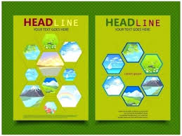 book cover design with pictures on polygons template vector ilration png