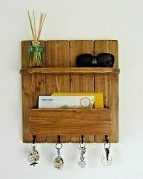 rustic wood wall hanging organizer key