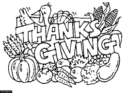 Turkey And Food Happy Thanksgiving Coloring Page For Kids On Spanish