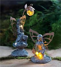 garden ornaments and accessories. Garden Fairy Ornaments Exclusive Statues Modest Design Solar Set Of 2 . And Accessories