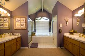 bathroom large bathroom design idea with catchy purple wall and completed with walnut vanity units beautiful beautiful bathroom lighting ideas tags