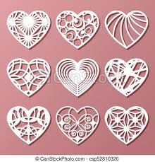set of decorative hearts for laser cutting vector ilration csp52810320