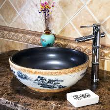 Ceramic Sink Bowl China Painting Sinks Counter Top Wash Basin Vanities  Bathroom Vessel Black S Sink Bowls On Top Of Vanity O87