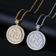 whole internet celebrity 6ix9ine rapper necklace rotating double disc necklace europe and america silver heart necklace pendants for men from
