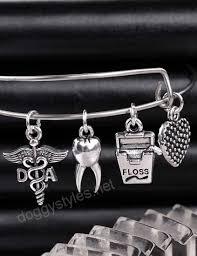 snless steel adjule wire bangle da dental istant caduceus charm al bracelet graduation appreciation jewelry gifts