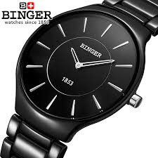 aliexpress com buy genuine swiss brand mens watch ceramic women aliexpress com buy genuine swiss brand mens watch ceramic women quartz table binger slim and stylish for couple watches shipping from reliable binger