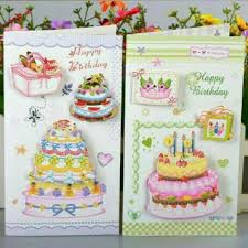 New Model Greeting Card 3d Birthday Cake Card With Glitter Kartu