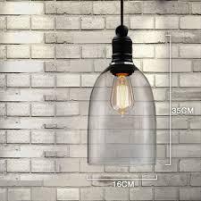 Bell Shaped Pendant Lights Vintage Transparent Pendant Lamps Glass Bell Shape Pendant