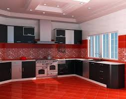 red kitchen decor sets black stripes rug square white cooker hood chimney minimalist veneer island decorative
