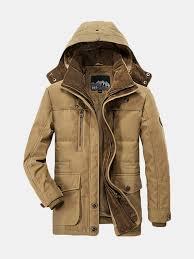 <b>Winter Thicken Warm</b> Multi Pockets Solid Color Detachable Hood ...