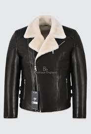 men s real shearling lined biker leather jacket slim fit black veg tanned 2041