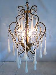 vintage italian murano glass teardrop milk glass chandelier made in italy