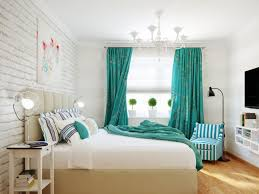 Bedroom:Amusing Bedroom Decorating With Turquoise Headboard And Stripped  Curtain Ideas Captivating Bedroom Design With