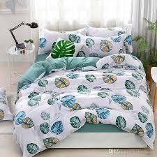 plant bedding set green banana leaf duvet cover flat sheet pillowcase polyester single queen king size brief bedlinen comforter sets queen white