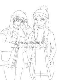 Coloring Page Fashion Girls Friends Squad Printable Download