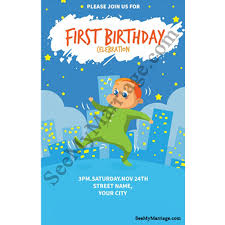 B Day Invitation Cards Bump Up Night Party Theme Birthday Invitation Card With Baby Boy Dancing Poster With City Background