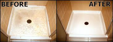 cleaning fiberglass shower floors view before after clean fiberglass shower pan stains