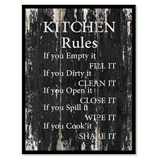 kitchen rules motivational quote saying canvas print with picture frame home decor wall art on wall art kitchen rules with kitchen rules inspirational motivation quote saying decorative home