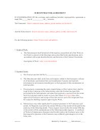 Sample Subcontractor Agreement Subcontractor Agreement Forms by BeunaventuraLongjas subcontractor 1