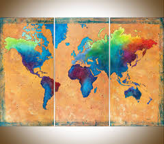 world map made to order by qiqigallery 54 x36 original paintingabstract paintings