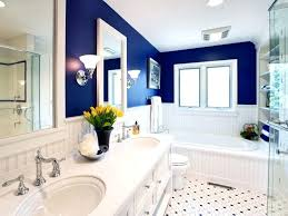 blue bathroom decorating ideas royal blue bathroom decor tan white wall sink floating cabinet sliding door