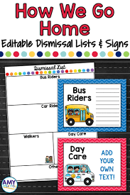 How We Go Home Chart Printable Dismissal Lists And Posters With Editable Templates