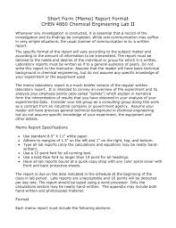 Short Form Memo Report Format Chen 4860 Chemical