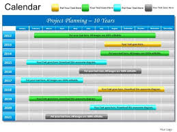 Powerpoint Slide Gantt Chart 10 Year Planning Project Ppt