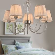 5 light silver iron modern chandelier with fabric shades hkp31263 5
