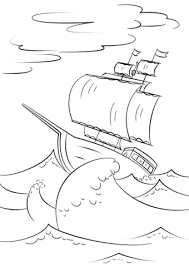 Sailing Ship On Huge Ocean Waves Coloring Page Free Printable