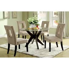 impressive round glass dining table decor 11 decorating ideas engaging using rectangular cream rugs and brown suede stacking chairs also with rounded tables