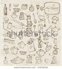 vintage kitchen utensils illustration. Unique Illustration Big Set Of Vintage Kitchen Utensils Handdrawn With Ink Vector Illustration  With Vintage Kitchen Utensils Illustration