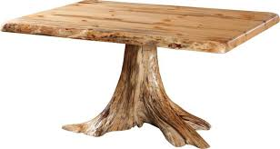 Amish Rustic Single Stump Table with Pine Top