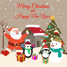 Christmas Card Images Free Christmas Card Design With Penguins And Santa Claus Free Vector In