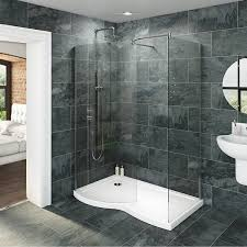 walk in shower installation with grey tiles