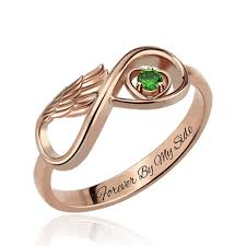 infinity heart ring. angel wing infinity heart ring with birthstone in rose gold