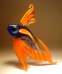 blown glass art figurine orange and blue telescope fish standing or hanging