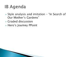 ib agenda ibso presentation ppt style ysis and imitation in search of our mother