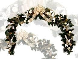 Christmas Decoration White Poinsettia Gold Garland