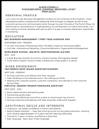 example of a written cv application cv example studentjob uk