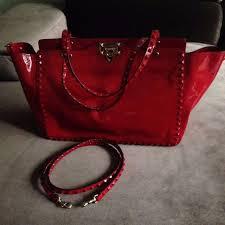 new auth valentino garavani rockstud medium tze red pantent leather bag