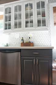 White Kitchen Cabinet Makeover Remodelaholic Gray And White Kitchen Makeover With Hexagon Tile