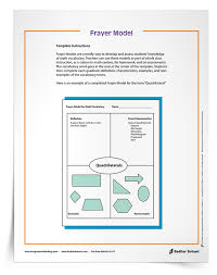 Frayer Model Math Template Frayer Model Organizer 1 8 Download Sadlier School