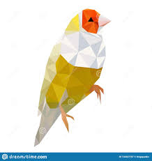 Yellow Bird Design Minimalistic Low Poly Yellow Bird Stock Vector