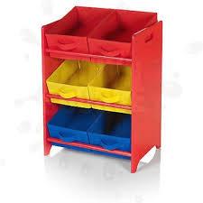 Toy Storage Unit Red 3 Tier 6 Canvas Storage Bins Childrens Kid Playroom  Nursery